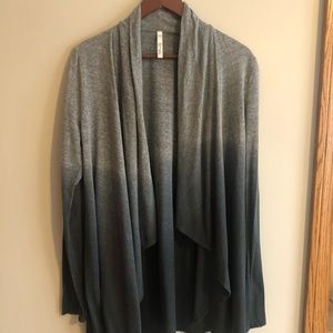 Fluxus, Ombré Gray and Charcoal Open Cardi, Size M